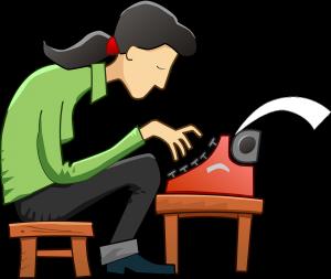 Woman writing content on typewriter